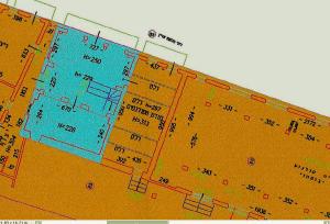 خارطة المشروع المزمع إنشاؤه. اللون الخردلي يشير إلى منطقة المشروع والأزرق إلى الجامع، وهو خارج المشروع.